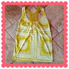 CHARLOTTE RUSSE Top BUNDLE & SAVE 30%   Mustard/gold razorback, upper back part is crocheted, semi-sheer. Excellent condition!   Armpit to armpit 14.75in Collar to waist 17.5in. Charlotte Russe Tops