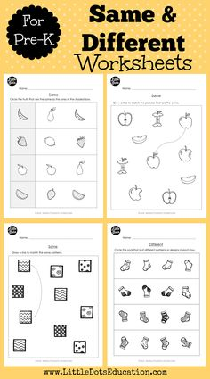 Download worksheets and activities to learn the concept of same and different for pre-k or preschool level.
