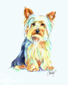 Yorkie Print featuring the painting Yorkie Dog Portrait by Christy Freeman