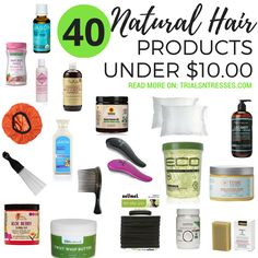 40 Natural Hair Products Under 10 Dollars - Trials N Tresses - Gift the naturalistas in your life sweet gifts without breaking the bank. Save your coin this year by shopping 40 natural hair products under 10 dollars. Best Natural Hair Products, Natural Haircare, Natural Hair Tips, Natural Hair Journey, Natural Hair Styles, Going Natural, Transitioning Hairstyles, Organic Shampoo, Pelo Natural