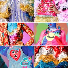 Bright details from Meaham Kirchhoff - Halloween inspiration at the VERY least. Weird Fashion, New Fashion, Fashion Outfits, Meadham Kirchhoff, Vibrant Colors, Colours, Textile Texture, Olympia Le Tan, The Clash