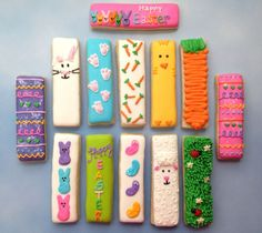 Easter Cookie Sticks Go Check out my FB… - Kekse Fancy Cookies, Iced Cookies, Custom Cookies, Holiday Cookies, Cupcake Cookies, Sugar Cookies, Frosted Cookies, Cookie Favors, Flower Cookies