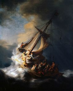 Rembrandt - The Storm on the Sea of Galilee, 1633. The painting is still missing after the robbery from the Isabella Stewart Gardner Museum in 1990. - A Tempestade no Mar da Galilelia