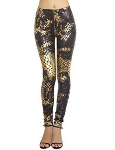 iBiP WomenS Golden Alligator Skin TieDyed Patterned Low Rise Footless Legging Size XS Gold -- Find out more about the great product at the image link.