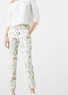 Pantalón algodón estampado   MANGO