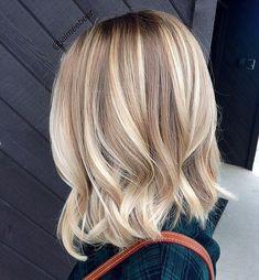 Balayage Bob, Hair Color Balayage, Balayage Highlights, Blonde Balayage Mid Length, Balayage Brunette, Mid Length Blonde Hair, Blonde Bayalage Bob, Ombre Hair, Beige Blonde
