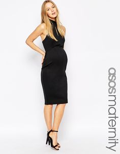 ASOS Maternity Bodycon Dress With Halter Neck And Keyhole
