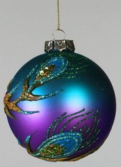 "Amazon.com: 3.75"" Regal Peacock Blue & Purple Glitter Applique Glass Christmas Ball Ornament"