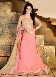 Pink and Cream net designer lehanga choli http://www.angelnx.com/Lehenga-Choli/Designer-Lehenga-Choli