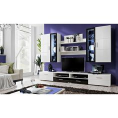 Everton Living Room Furniture Set In White With LED Lights