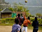 Playing Volley Ball in Camping....