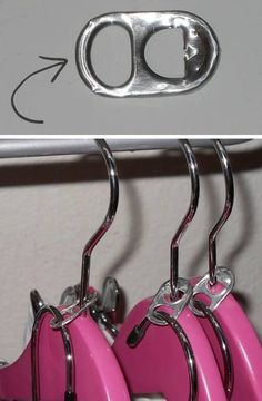 How cool is this?  A cheap way to double the room in your closet by adding these soda can tabs to your existing hangers to hang another item on!