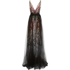 Black Multi Confetti Gown | Moda Operandi ($7,690) ❤ liked on Polyvore featuring dresses and gowns
