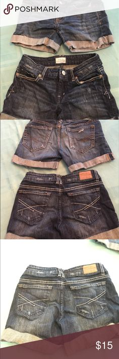 Aeropostale Jean shorts 2 pairs! 2 pairs Aeropostale Jean shorts size 00 all zippers and buttons work only holes were put there by Aeropostale Aeropostale Shorts Jean Shorts