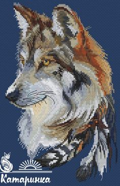 Wolf : Size design stitches cm), 35 solid colors and 14 blends (DMC palette). Design in PDF format.