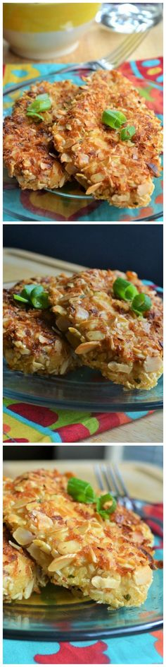 Crunchy Almond Baked Chicken is the perfect weeknight meal for a busy life. Crunchy, moist and spicy!