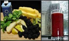 blackberry-kiwi juice: 1/4 pineapple, 1c blackberries, 1 kiwi, 1/4 comice pear, 1/4c coconut water, 30 mint leaves