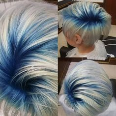 VISIT FOR MORE Blue roots The post Blue roots appeared first on kurzhaarfrisuren. Short Blue Hair, Short Hair Cuts, Short Hair Styles, Short Pixie, Blue Roots, Colored Hair Roots, Dark Roots, Pelo Multicolor, Corte Y Color