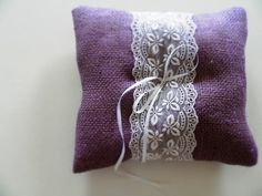 Purple Shabby Chic Burlap Ring Pillow - Bearer Pillow with white lace by MadeInBurlap on Etsy https://www.etsy.com/listing/202858798/purple-shabby-chic-burlap-ring-pillow