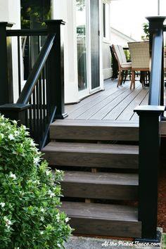 Deck Skirting Ideas - If your deck or porch rises, even a little, over grade degree, it's best to get rid of the underside with landscaping, skirting or other methods. Deck Stairs, Deck Railings, Black Railing, Black Deck, Black Pergola, Pergola Shade, Patio Roof, Backyard Patio, Deck Colors