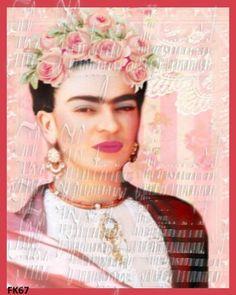 Pastel Shabby Frida Kahlo Fabric Block by MermaidFabricBlocks