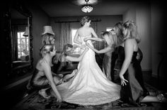 super cute picture of all the bridemaids dresses the bride <3
