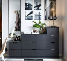 New Bedroom Wardrobe Ikea Dressers Ideas Ikea Bedroom Storage, Bedroom Drawers, Bedroom Sets, Home Decor Bedroom, Design Bedroom, Chest Of Drawers Decor, Black Chest Of Drawers, Set Of Drawers, Black Bedroom Furniture