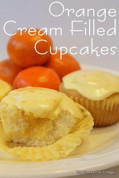Orange Cream Filled Cupcakes -- a truly wonderful citrus cupcake that you must try! Makes 30 cupcakes. 204 calories, fat per cupcake made with nonfat milk. Cupcake Recipes, Cupcake Cakes, Dessert Recipes, Cup Cakes, Cream Filled Cupcakes, Yummy Treats, Sweet Treats, Cake Fillings, Yummy Cupcakes