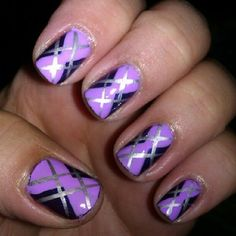 purple argyle nails