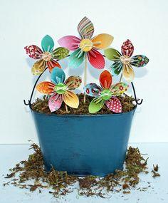 Folded Flower Tutorial Flowers in Pail by Stephanie Klauck (via the Jillibean Soup blog).