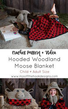Crochet Hooded Moose Blanket – MJ's Off The Hook Designs Crochet Bebe, Crochet For Kids, Crochet Hooks, Free Crochet, Knit Crochet, Crochet Children, Crochet Fall, Crochet Blanket Patterns, Baby Blanket Crochet