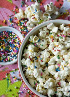 Cakebatter popcorn with sprinkles #delightfuldesserts