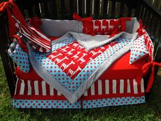 Red and White Giraffe, Stripe and Polka Dot Crib Bedding Set - Too much red, but how cute is this??