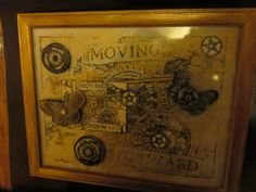 MOVING FORWARD Steampunk Wall Art framed with glass