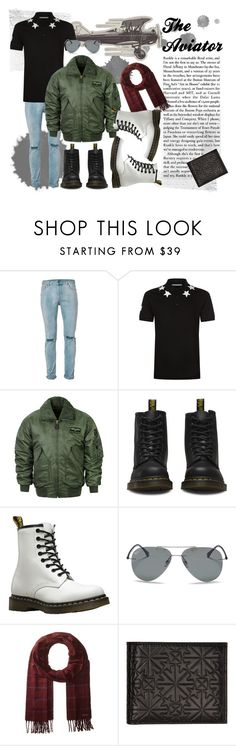 """""""The Aviator"""" by tristan-fraser ❤ liked on Polyvore featuring Topman, Givenchy, Dr. Martens, Ray-Ban, Ted Baker, Jimmy Choo, men's fashion and menswear"""