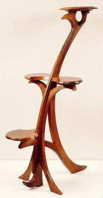 "Gustave Serrurier-Bovy (1858-1910) - Pedestal. Carved Mahogany. Circa 1900. 62-3/4"" x 38-3/4"" x 31"" (159.4cm x 98.4cm x 78.7cm)."