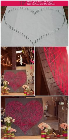 DIY Heart of String. Cheap and easy to do, tutorial from Green Wedding Shoes here.*Other Nail and String Art Ive posted:  Colorful and huge one spelling out Rave Onhere.  String Map Art with a Heart in the Middle (like the expensive ones on Etsy) here.  LOVE String Art in Cursivehere.