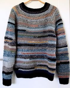 Reste vamsen - hæklet sweater af garnrester | Eponas dagbog Crochet Clothes, Diy Clothes, Clothes For Women, Drops Design, Loom Knitting, Knitting Projects, Knit Crochet, Men Sweater, Pullover