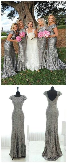 Sparkly Popular Cheap Short Sleeve Bling Silver Sequin Sexy Mermaid Long Bridesmaid dresses, The long bridesmaid dresses are fully lined, 4 bones in the bodice, chest pad in the bust, lace up bac Country Bridesmaid Dresses, Sequin Bridesmaid Dresses, Wedding Bridesmaids, Prom Dresses, Sparkly Bridesmaids, Bridesmaid Ideas, Sequin Dress, Evening Dresses, Wedding Party Dresses