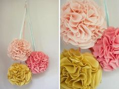 Fabric pom poms DIY  from Once Wed