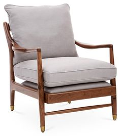 Serafi Accent Chair, Gray Linen