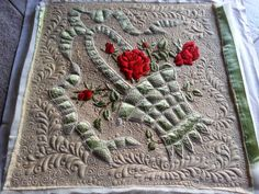 """1920's Vintage """"Society Silk Embroidery"""", Quilted! 