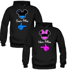 she is mine he is mine mickey & minnie Sweatshirt Love Couple Hoodies