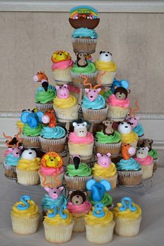 Her Baby Shower Theme is Noah's Ark and I think it is adorable Baby Baptism, Baptism Party, Baby Party, Baby Shower Parties, Baby Shower Themes, Shower Ideas, Baptism Ideas, Luau Party, Baby Shower Cupcakes For Boy