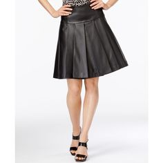 Michael Michael Kors Pleated Faux-Leather Fit & Flare Skirt ($98) ❤ liked on Polyvore featuring skirts, black, faux leather circle skirt, faux leather flared skirt, frilly skirts, flouncy skirt and flared skirt