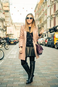 over the knee boots ,trenchcoat,LEATHER SKIRT AND GRAPHIC SHIRT