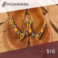 Roxy sandals Super cute Roxy sandals with colorful beaded flower straps Roxy Shoes Sandals