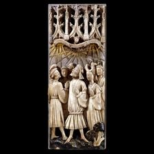 Alabaster panel showing the signs of the Last Judgement. 1420-60 AD. From England