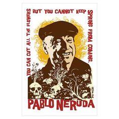 Pablo Neruda empezó escribir escritos profesionales cuando tuvo trece aÑos, por un periodico. Luego, cuando era más viejo, empezó usar un nombre falso  para a escribir. Escojó Pablo Neruda porque Neruda era el nombre de un otro escritor famoso. Principalmente, escribó poemas sobre amor y muerto, pero tambien escribó poemas sobre problemas políticas incluyendo varias guerras.