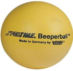 The Beeperball from Maxi Aids is an eight inch rubber ball with a beep inside it, making it easy for anyone to play ball, both sighted kids and visually impaired.